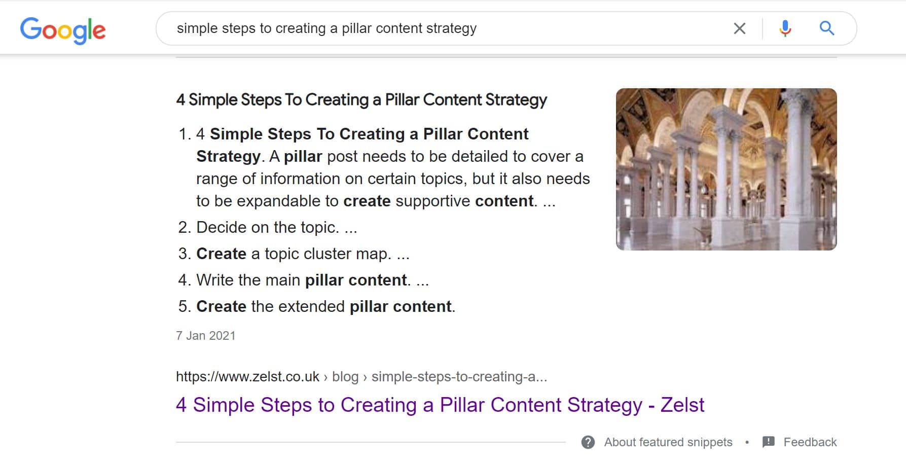 Screenshot of a featured snippet held by Zelst.