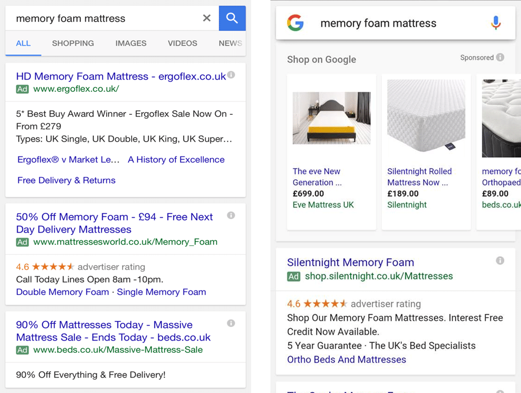 On mobile devices, Paid Ads take up the entire opening search screen