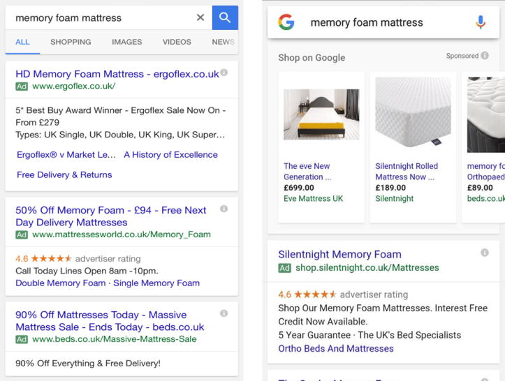 New Google Ads in Top 4 Spots and Shopping in Right Column