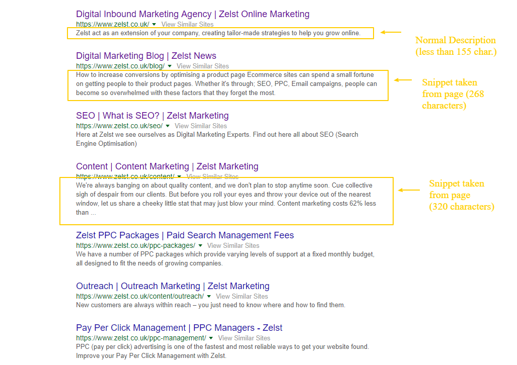Google Serp Featuring Traditional Descriptions (LT 155 char.) and longer snippets (up to 320 char)