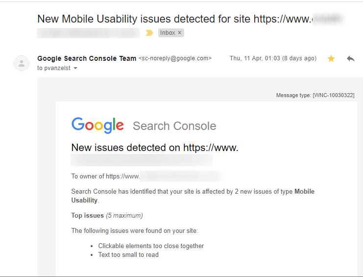 Google Search Console Mobile Usability Issues Email