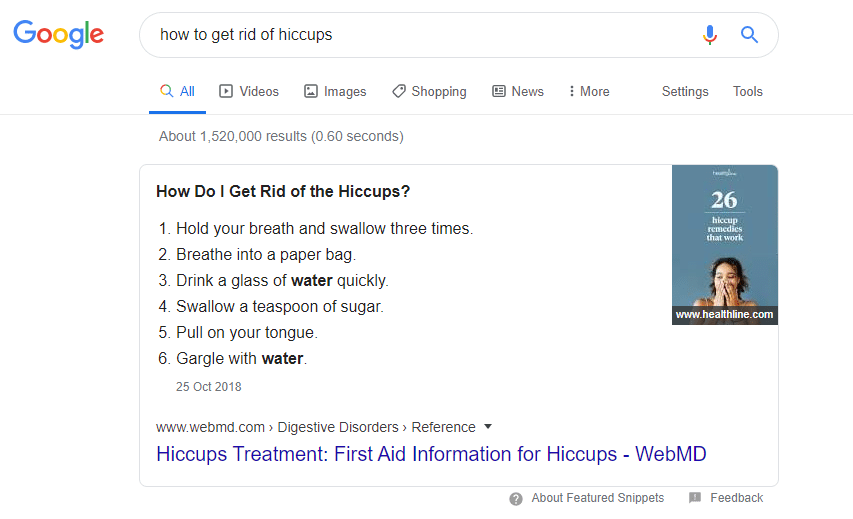 Hiccups Featured Snippet Example