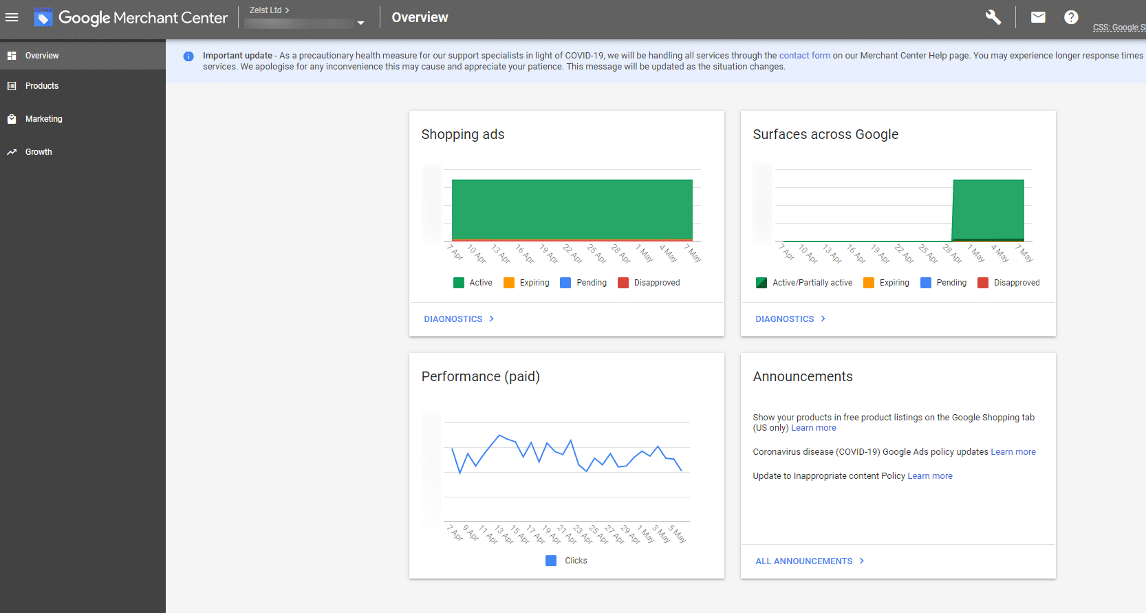 The Google Merchant Center Dashboard Overview in the UK