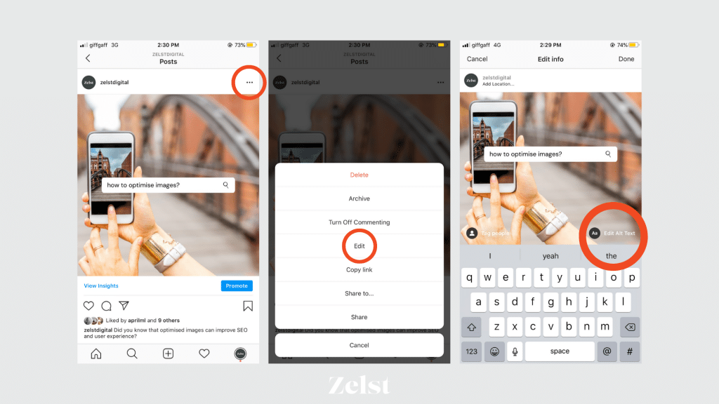 A visual guide showing the steps for how to add Instagram alt text retrospectively.