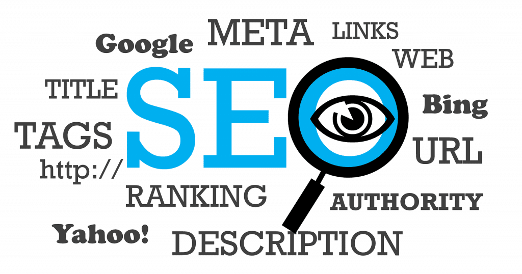 Word Diagram Showing the Main Things to Consider with SEO