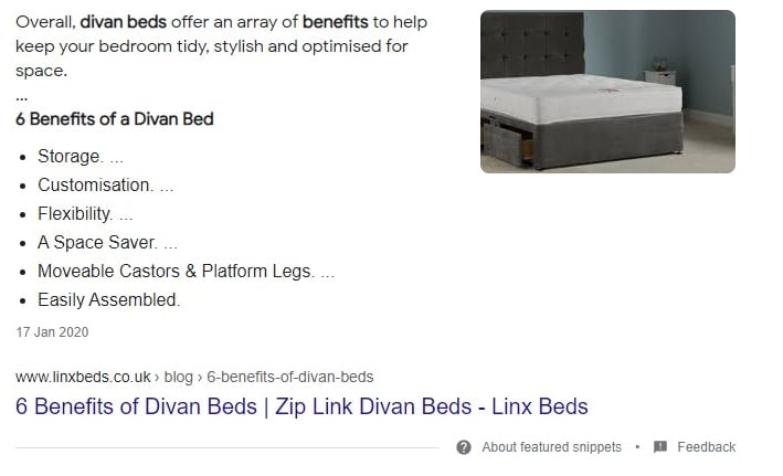 Bed Retailer Featured Snippet