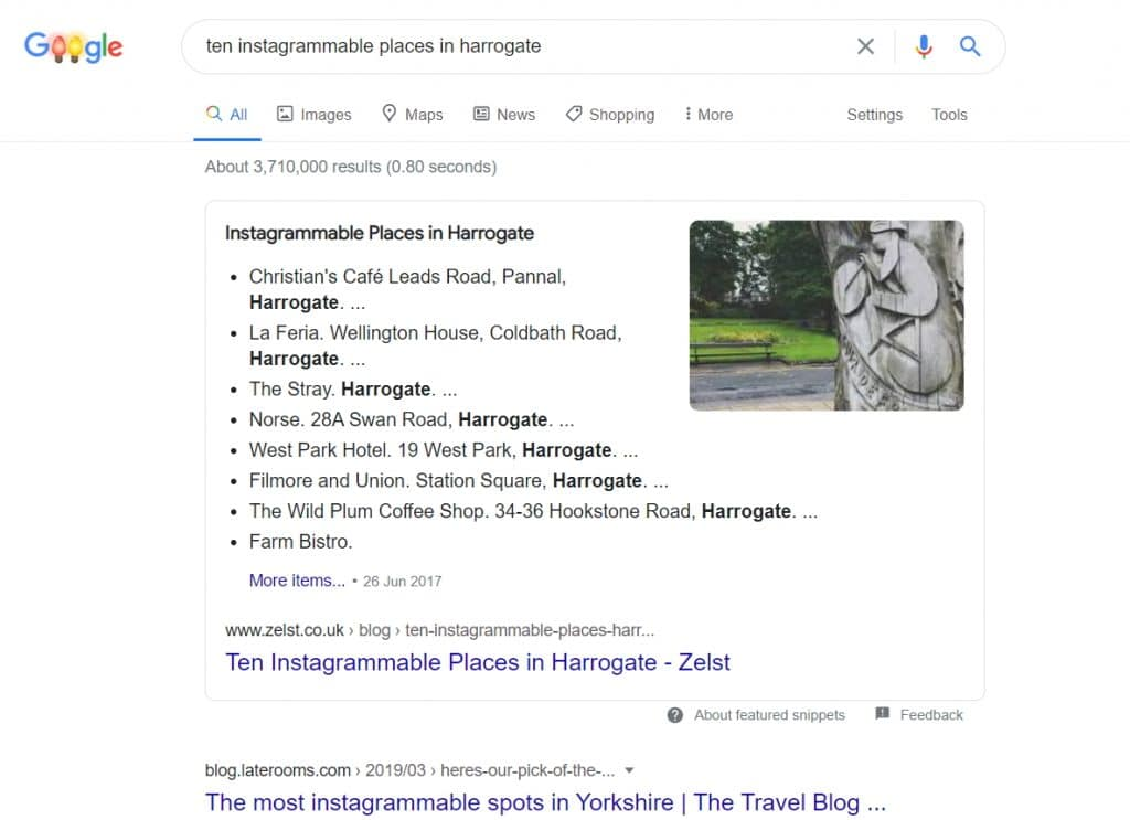 """Screenshot of a Featured Snippet Won by Zelst for the Blog Post """"Ten Instagrammable Places in Harrogate"""""""