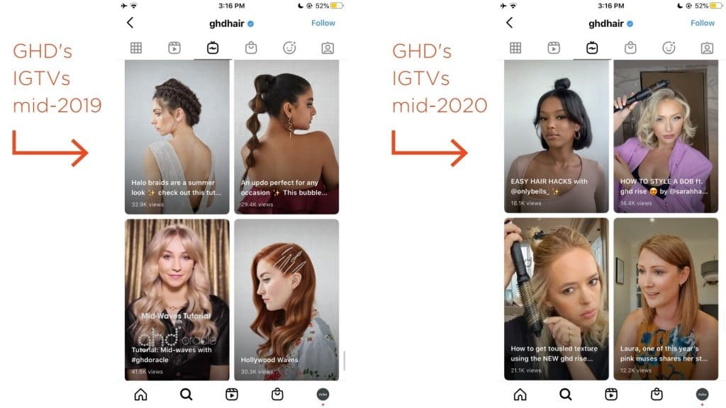 A side-by-side of a selection of GHD's IGTVs from mid-2019 and mid-2020. The IGTVs pre-pandemic feature models in studios. The IGTVs post-pandemic feature influencers and stylists using GHD products at home. This type of lower-value production will continue to be a social media trend in 2021.