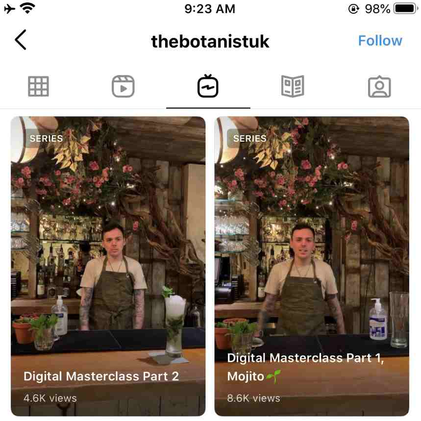A screengrab of The Botanist's Instagram IGTVs. The videos feature one of their bartenders showing followers how to make their own cocktails at the start of the first UK lockdown. This is a great example of reactive social media marketing, a social trend for 2021 and beyond.