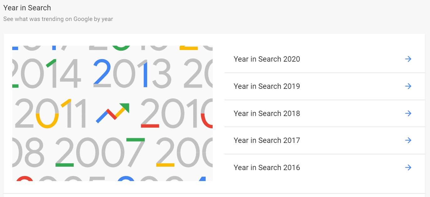 Year in Search Google Trends