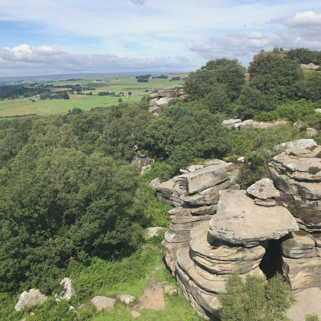 Brimham rock stacks in the right corner and the beautiful Yorkshire countryside on the left.