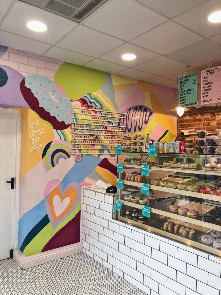 Colourful donut display at Instagrammable cafe Doe Bakehouse in Harrogate